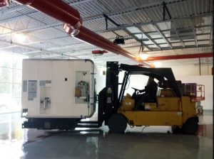 equipment and machine storage in commercial warehouse