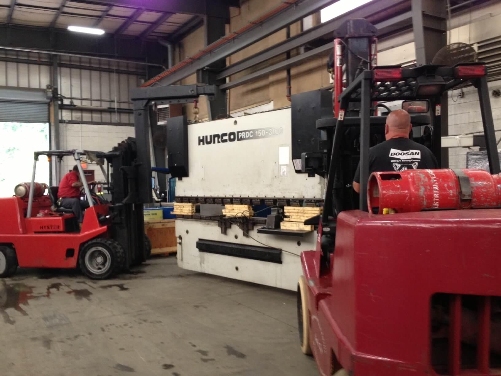 Installing a Press Brake at Equip Trucking Warehouse